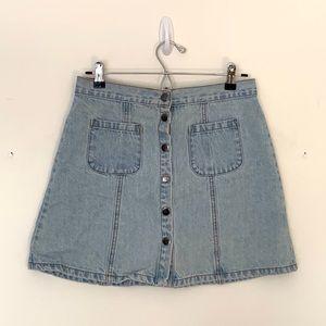 Denim Button-up Skirt   Urban Outfitters